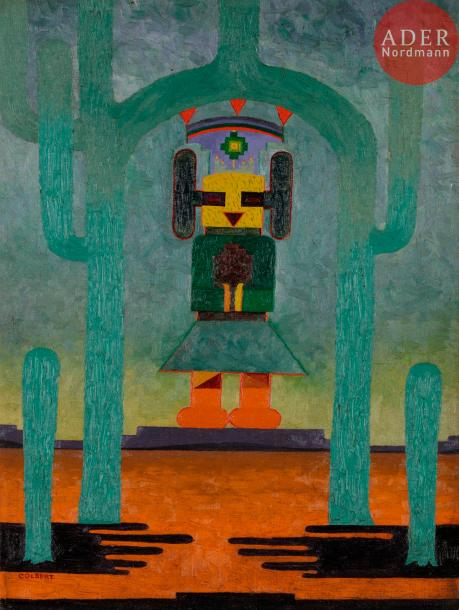 *Frank OVERTON COLBERT (1895-1953) The Rain God and Cactus, vers 1921 Huile sur…