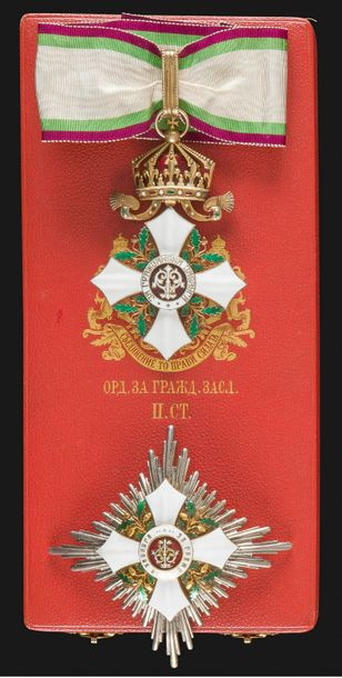 BULGARIE ORDRE DU MÉRITE CIVIL, créé en 1891. Ensemble de grand officier de 2e classe,…