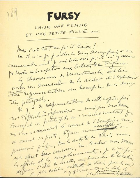 Sacha GUITRY (1885-1957). Manuscrit autographe, Fursy…, [mai 1929] ; 1 page in-4.…