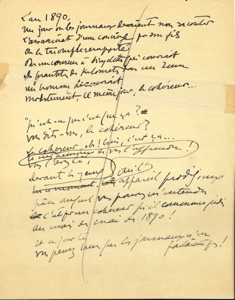 Sacha GUITRY. Manuscrit autographe, « L'an 1890… » ; 15 pages in-4 sur papier jaune…