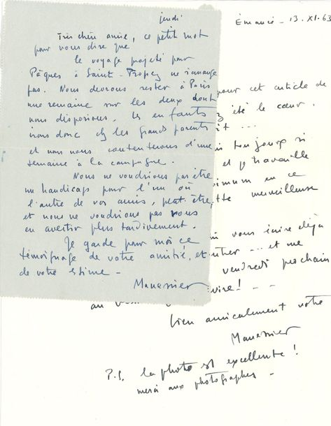 Alfred MANESSIER (1911-1993). 2 L.A.S., 1954-1963, à Mme Madeleine Marceron; 1page…