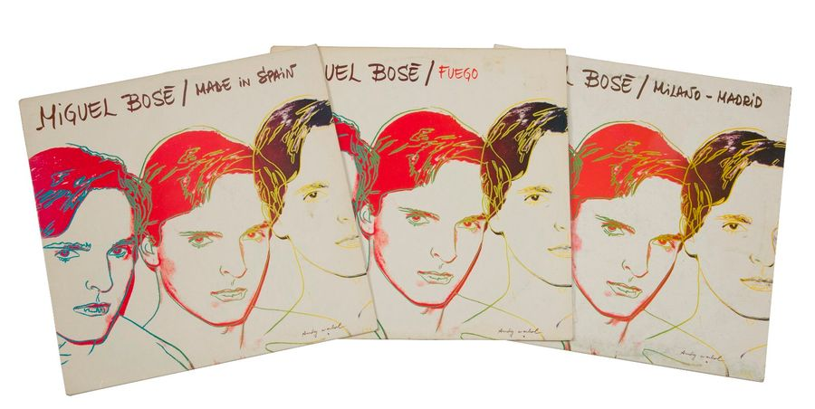 [ANDY WARHOL] Lot de trois 33 T Miguel Bosé « Made in Spain », « Milano Madrid »…