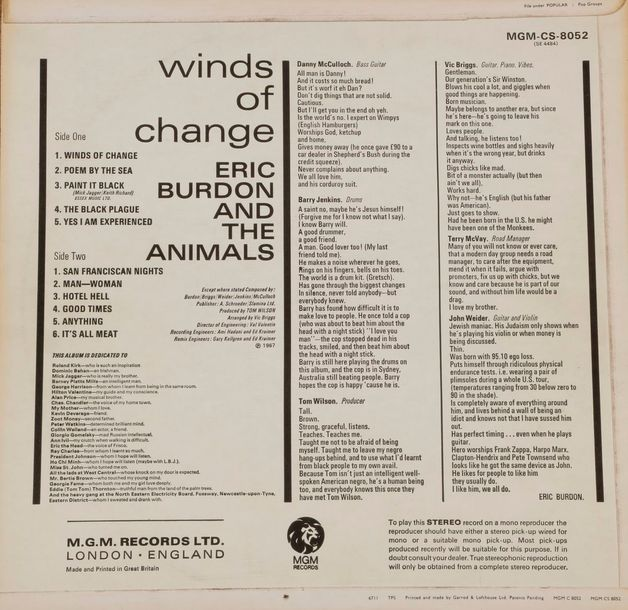 ERIC BURDON & THE ANIMALS « Winds of change » MGM CS 8052 STEREO U.K., 1967. 33 …