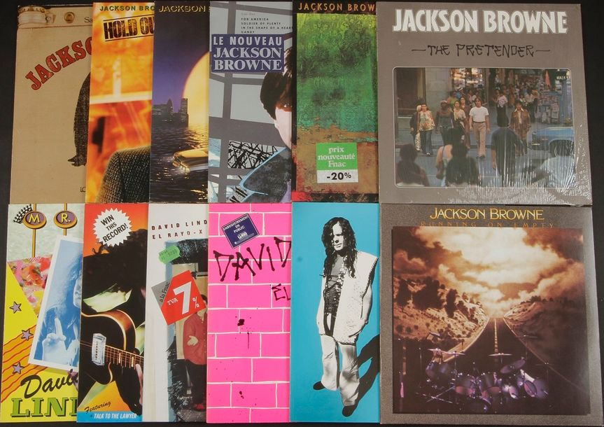 ARTISTES DIVERS dont : JACKSON BROWNE / DAVID LINDLEY Ensemble de 12 disques 33 …