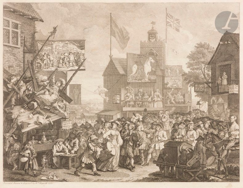 William Hogarth (1697-1764) Southwark Fair. 1733-1734. Eau-forte et burin. 471 x 360.…