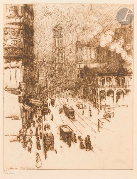 Jean-Émile Laboureur (1877-1943) Broadway, New York. 1907. Eau-forte. 180 x 225.…