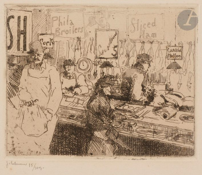 Jean-Émile Laboureur (1877-1943) Marché à la viande, New York (Washington Market,…