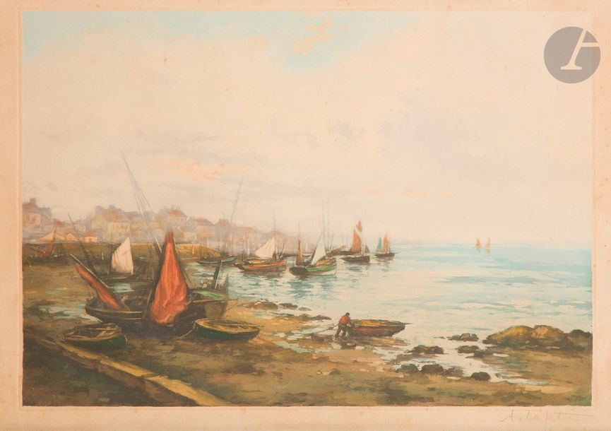 Alphonse Lafitte (1883- ?) Port breton. Aquatinte. 560 x 390. Impression en couleurs.…