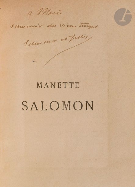 GONCOURT (Edmond et Jules de). Manette Salomon. Paris : Librairie internationale…