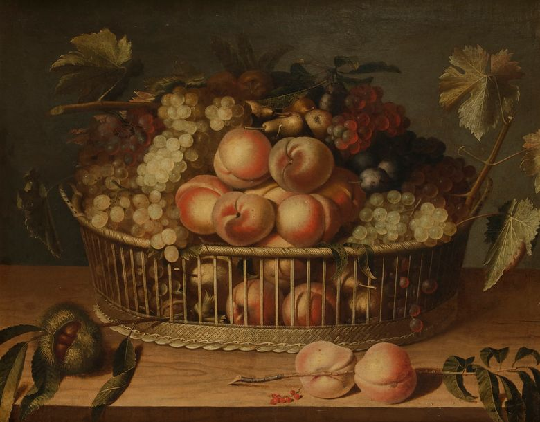 Paul DORIVAL (Grenoble 1604 - 1684) Corbeille de fruits sur un entablement de bois…