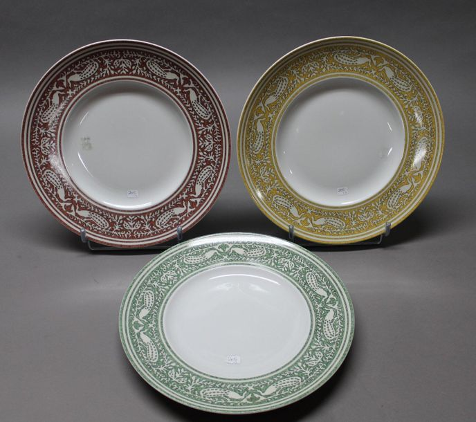 "HERMES Paris made in France  Lot composé de trois plats en porcelaine ""Early Ame…"