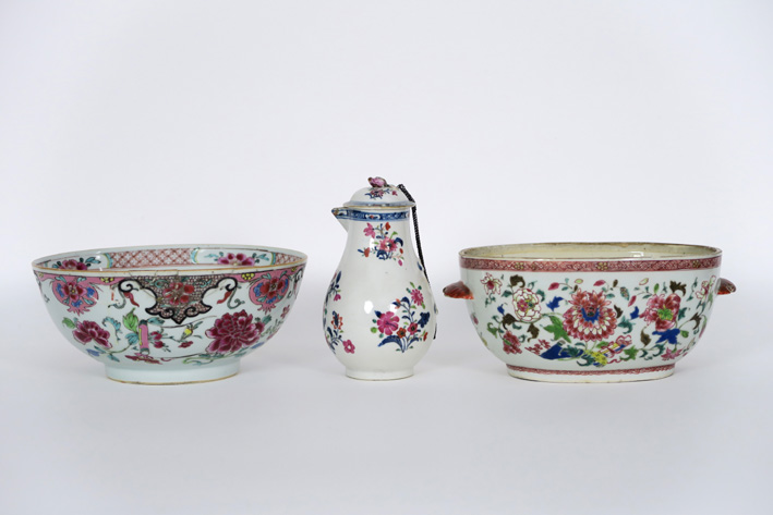 Lot achttiende eeuws Chinees porselein met bordjes, bowl, ... ||18th Cent. Chine…