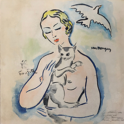 Auction - Léonard Tsuguharu FOUJITA (1886-1968) & Kees VAN DONGEN (1877-1968) Bust of a nude woman holding a cat in her arms