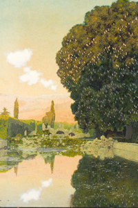 Maxfield PARRISH (1870-1966) Pool at Val San Zibio, 1904 Huile sur Carton